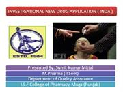 INVESTIGATIONAL NEW DRUG APPLICATION