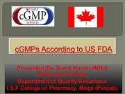 GMPs According to US FDA and schedule M