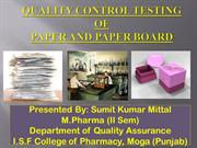 QUALITY CONTROL TESTING OF PAPER AND PAPER BOARD