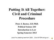 POL 203 Civil and Criminal Procedure Spring 2013 AUDIO LECTURE PART I