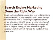 Search Engine Marketing Done the Right Way