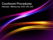 Courtroom Procedures Welcome PowerPoint