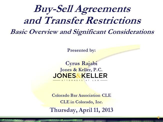 2013 04 11 Cba Cle Jkpc Powerpoint Buy Sell Agreements 2013 04