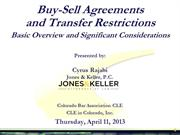 2013-04-11 CBA-CLE - JKPC PowerPoint - Buy Sell Agreements 2013-04-07