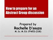 How to prepare for an abstract Group discussion