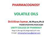 VOLATILE OILS - PHARMACOGNOSY
