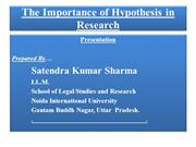 The Importance of Hypothesis in Research