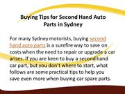 Buying Tips for Second Hand Auto Parts in Sydney