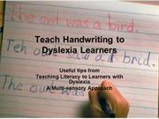 Teach Handwriting to Dyslexic Learners