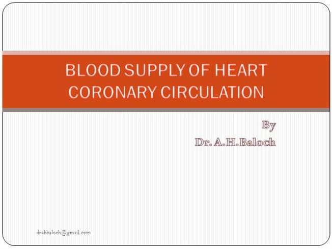 Blood Supply to Heart / CORONARY CIRCULATION |authorSTREAM