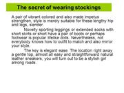 The secret of wearing stockings