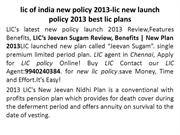 lic of india new policy 2013-lic new launch policy 2013 best lic plans