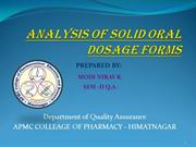 ANALYSIS OF SOLID ORAL By Nirav