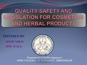 QUALITY SAFETY AND LEGISLATION FOR COSMETICS AND HERBAL PRODUCTS BY NI