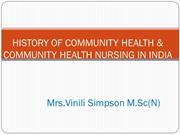 HISTORY OF COMMUNITY HEALTH IN INDIA