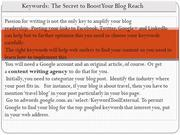 Keywords The Secret to Boost Your Blog Reach