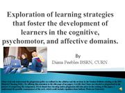 Exploration of learning strategies that foster the