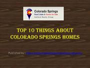 Top 10 Things about Colorado Springs Homes