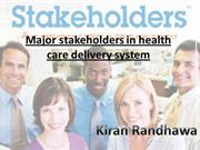 Major stakeholders in health care delivery system