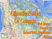 Climatic Zones of Canada