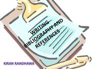 WRITING BIBLIOGRAPHY AND REFERENCES