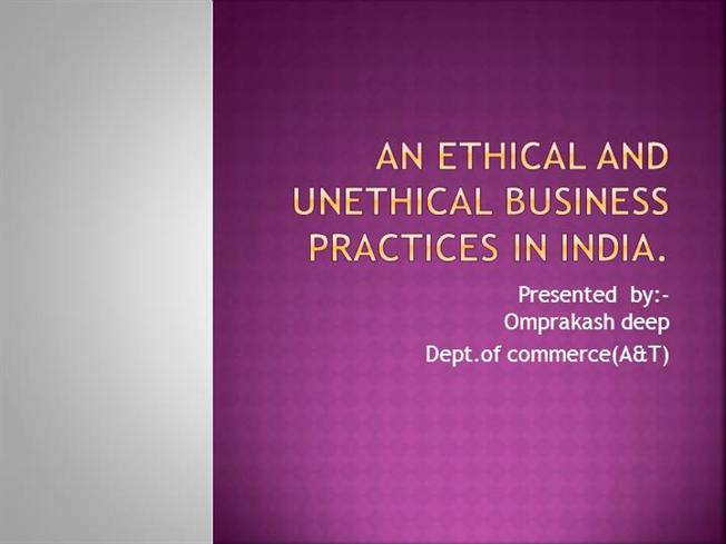 unethical practices in operations management