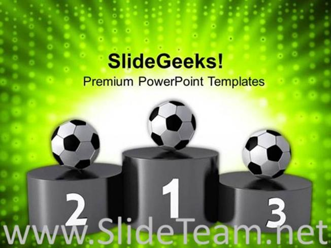 Award Winners Of Soccer On Podium Powerpoint Template Powerpoint