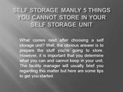 Self Storage Manly 5 Things You Cannot Store in Your Self Storage Unit