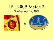 Rajasthan Royals  vs Royal Challengers