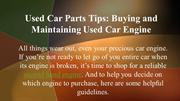 Used Car Parts Tips: Buying and Maintaining Used Car Engine