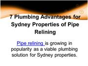 7 Plumbing Advantages for Sydney Properties of Pipe Relining