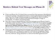 Retrieve Deleted Text Messages on iPhone 4S