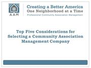 AAM AA -Top Five Considerations for Selecting a Community Association