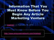 Information That You Must Know Before You Begin Any Article Marketing