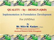 Quality-by-Design (QbD) by Mr. Nitin Kadam.