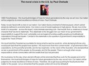 The moral crisis in the U.S. by Paul Chehade