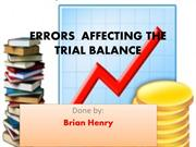 ERRORS AFFECTING THE TRIAL BALANCE