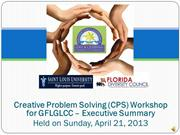 Executive Summary - Creative Problem Solving for the GFLGLCC
