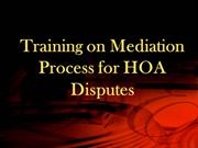8 Objectives-Training on Mediation Process for HOA Disputes