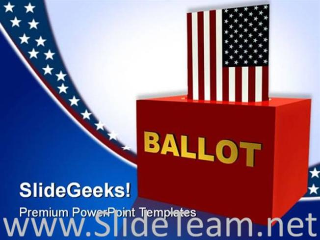 American Ballot Box Government Powerpoint Background Powerpoint Template