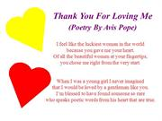 Thank You For Loving Me (Poetry By Avis Pope)