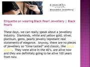 Etiquette on wearing Black Pearl Jewellery | Black Pearls
