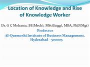 Location of Knowledge and Rise of Knowledge Worker