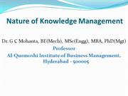 Nature of knowledge management and alternative views and types of know