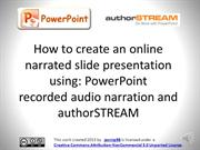 Narrated PowerPoint presentation on authorstream (PC)