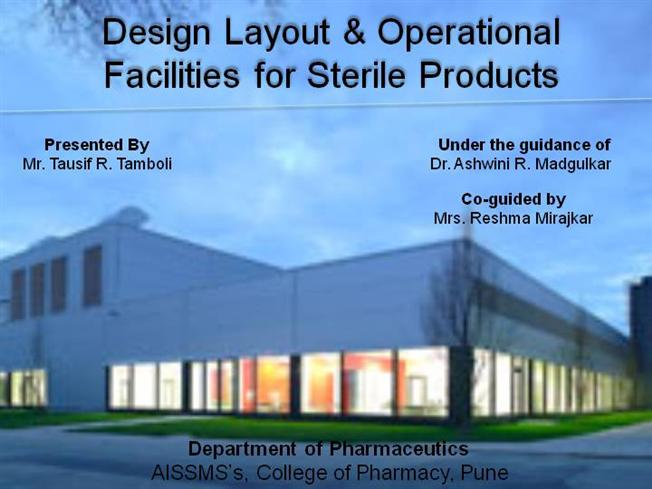 Design Layout Operational Facilities For Sterile Products 1
