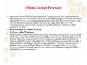 iPhone Backup Freeware