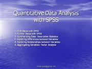 Quantitative Data Analysis with SPSS