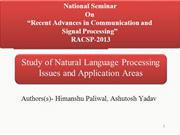 Study of Natural Language Processing Issues and Case Studies- Him