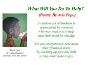 What Will You Do To Help (Poetry By Avis Pope)